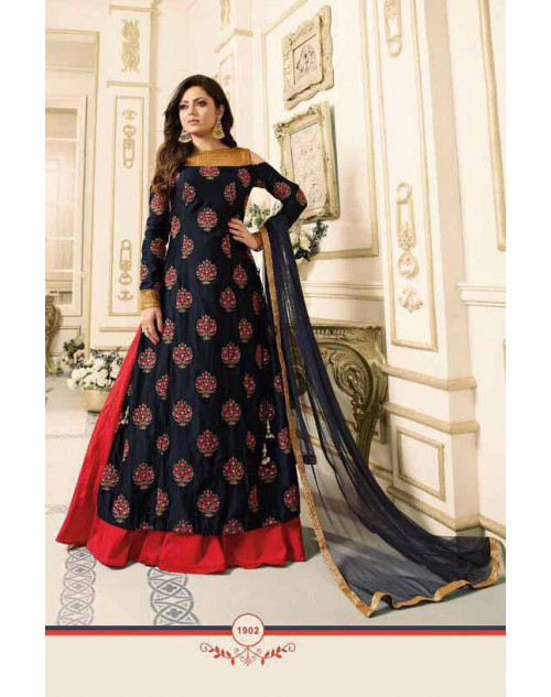 Drashti Dhami as Madhubala Stylish Black And Tomato Pure Chanderi Salwar Kameez
