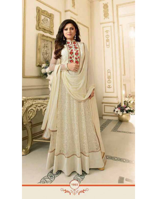 Drashti Dhami as Madhubala Stylish Off-White Net Salwar Kameez