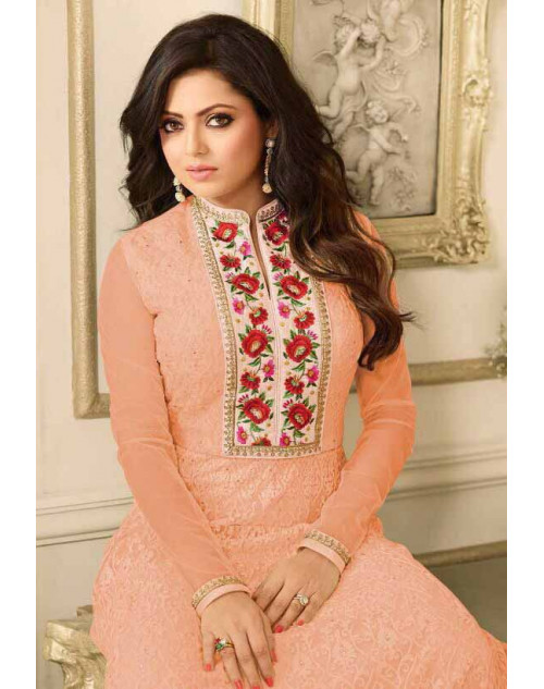 Drashti Dhami as Madhubala Stylish Orange Net Salwar Kameez