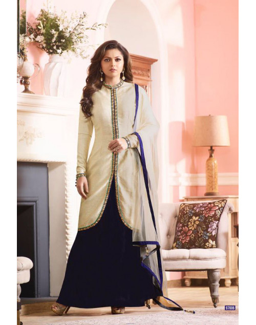 Madhubala as Drahsti Dhami White And Blue Australian Silk Designer Salwar Kameez