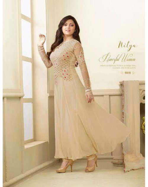Madhubala as Drashti Dhami Designer Cream Tapeta Silk with Fusing Salwar Kameez