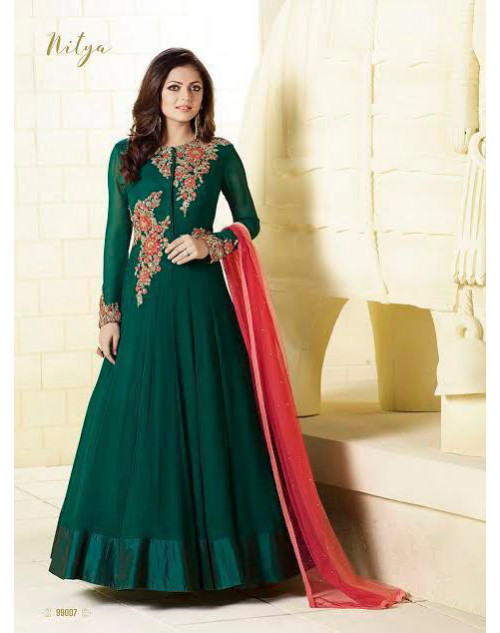 Madhubala as Drashti Dhami Designer Green Chiffon with Satin Border Salwar Kameez