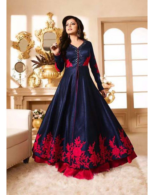 Drashti Dhami as Madhubala Navy Designer Pure Silk Dress Materials