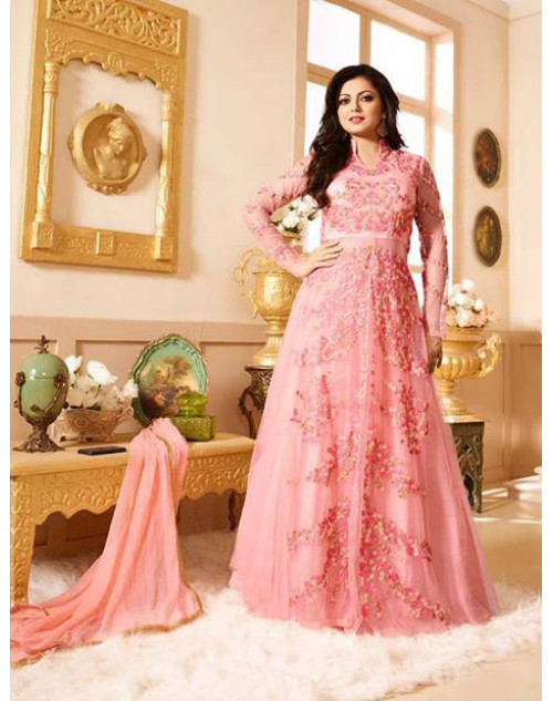 Drashti Dhami as Madhubala Light Pink Designer Net Dress Materials