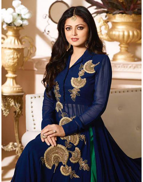 Drashti Dhami as Madhubala Blue Designer Georgette Dress Materials
