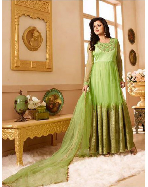 Drashti Dhami as Madhubala Light Green Designer Net Dress Materials