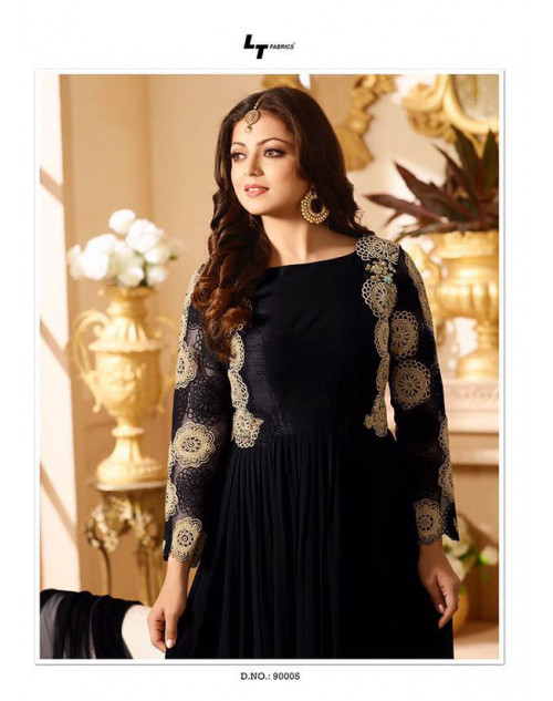 Drashti Dhami as Madhubala Black Designer Georgette Foil Print Dress Materials
