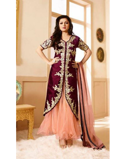 Drashti Dhami as Madhubala Maroon And Salmon Designer Pure Silk Dress Materials