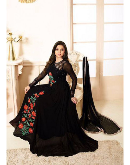Drashti Dhami as Madhubala Black Designer Net And Georgette Dress Materials