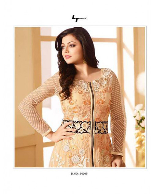 Drashti Dhami as Madhubala Salmon Designer Net Dress Materials