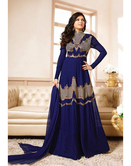 Drashti Dhami as Madhubala Navy Blue Designer Georgette Dress Materials