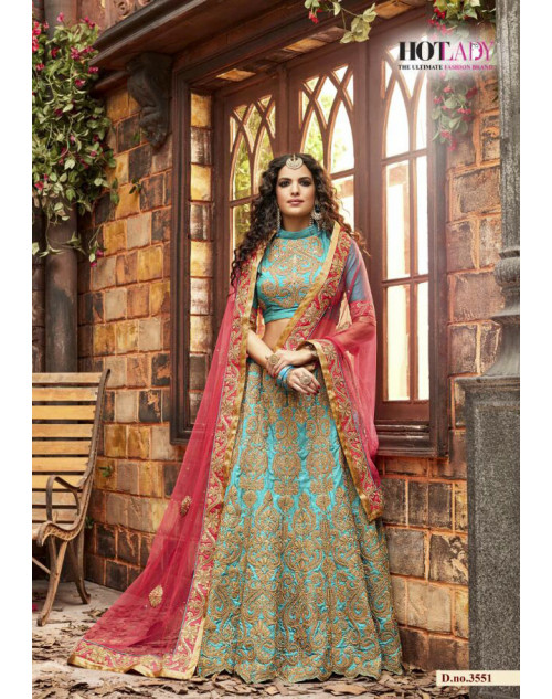 Hot Lady Aqua Pure Silk Designer Bridal Lehenga