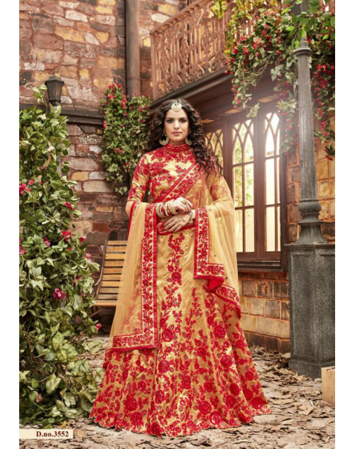 Hot Lady Red Pure Silk Designer Bridal Lehenga