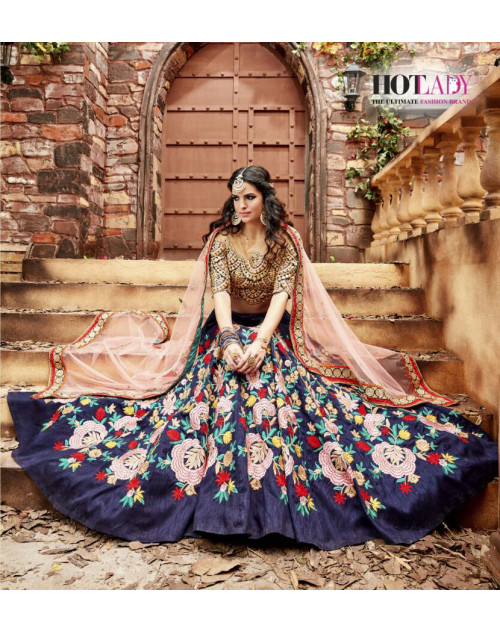 Hot Lady Purple Indo Silk Designer Bridal Lehenga