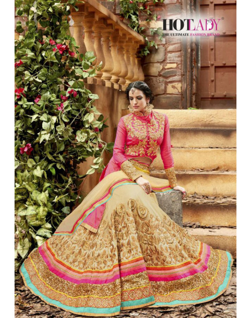 Hot Lady Pink Soft Net Designer Bridal Lehenga