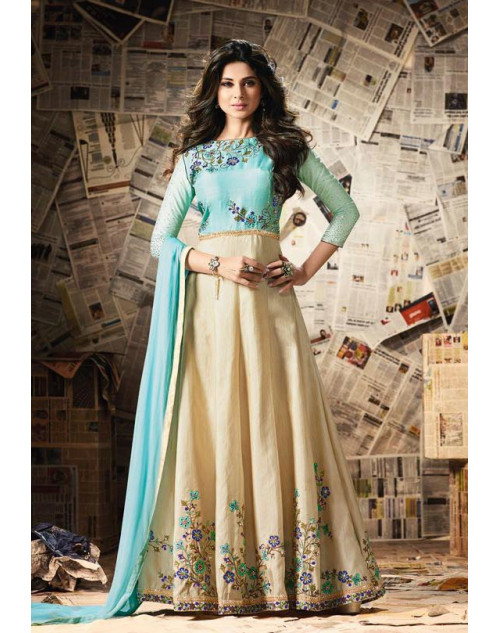 Jennifer Winget Aquamarine And Beige Banglori Silk Designer Salwar Suit