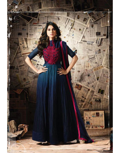 Jennifer Winget Blue Banglori Silk And Georgette Satin Designer Salwar Suit