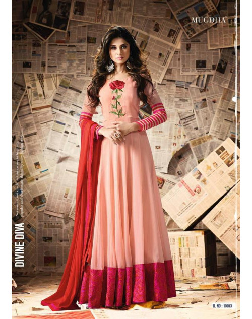 Jennifer Winget Salmon Georgette And Art Silk Designer Salwar Suit