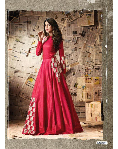 Jennifer Winget Red Pure Silk Designer Salwar Suit