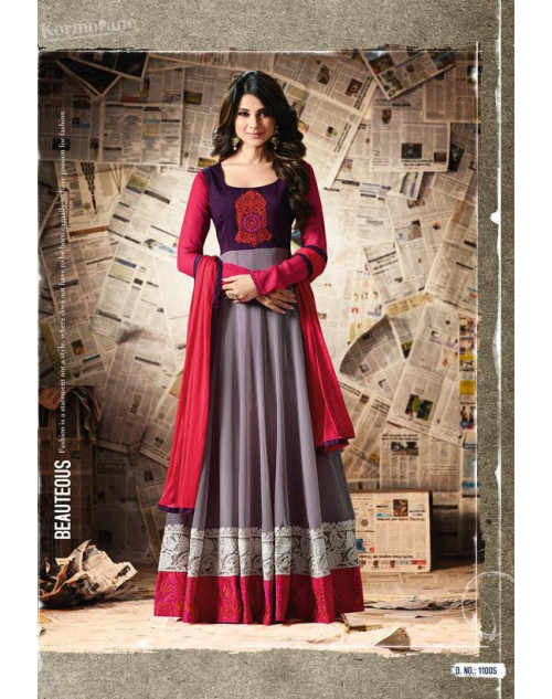 Jennifer Winget Pink And Grey Apple Georgette And Banglori Silk Designer Salwar Suit