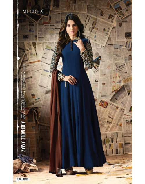 Jennifer Winget Blue Apple Georgette Designer Salwar Suit