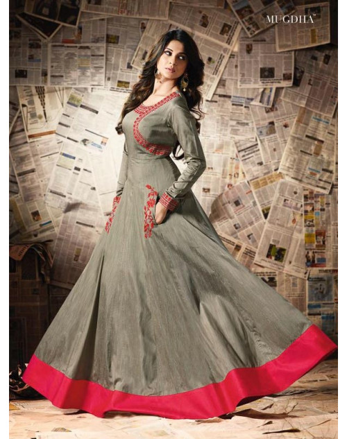 Jennifer Winget Gainsboro Pure Soft Silk Designer Salwar Suit