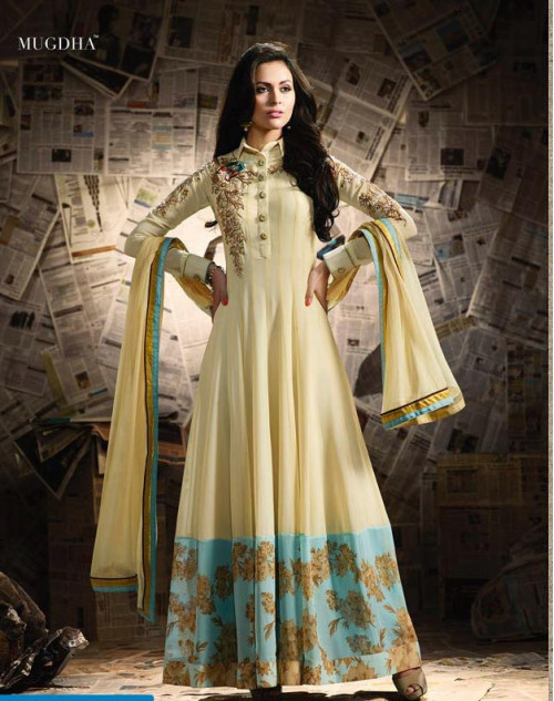 Jennifer Winget LemonChiffon Apple Georgette Designer Salwar Suit