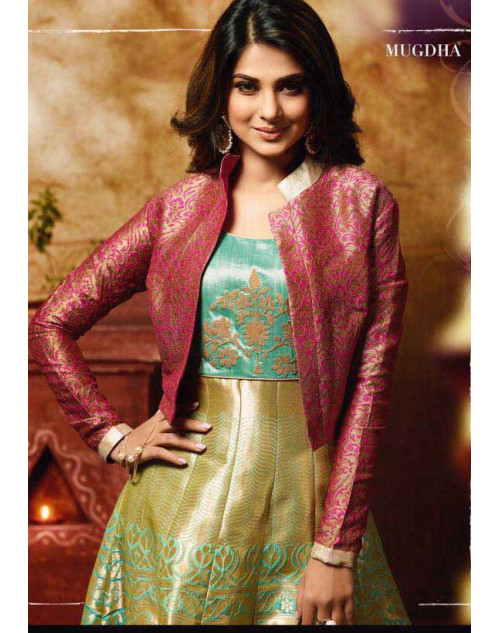 Jennifer Winget LightGreen And DarkKhaki Banarsi Designer Floor Length Dress Materials