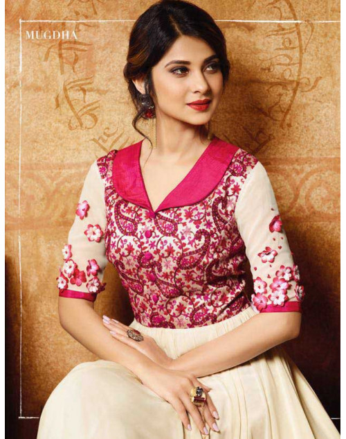 Jennifer Winget Pink And White Banglori Silk Designer Floor Length Dress Materials
