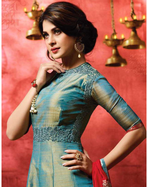 Jennifer Winget CadetBlue Banarsi Silk Designer Floor Length Dress Materials