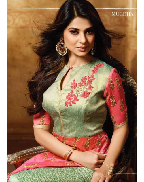 Jennifer Winget Pink And Green Banglori Silk Designer Floor Length Dress Materials