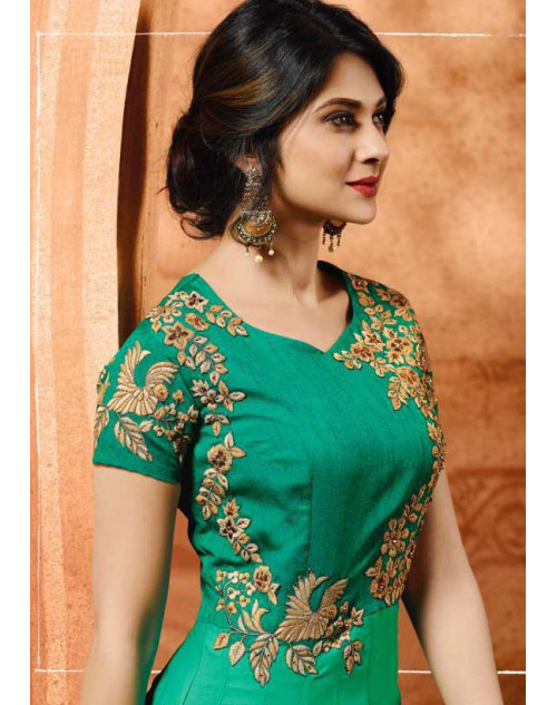 Jennifer Winget Green Silk Satin Designer Floor Length Dress Materials