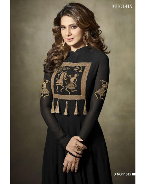 Jennifer Winget Black Fine Georgette Designer Floor Length Dress Materials