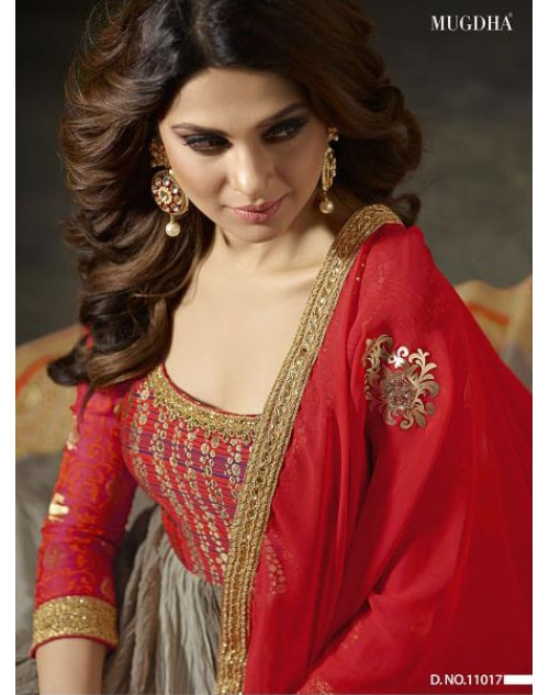 Jennifer Winget Red And Grey Fine Georgette Designer Floor Length Dress Materials