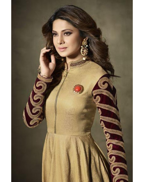 Jennifer Winget Beige Two Tone Gold Silk Designer Floor Length Dress Materials