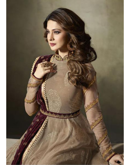 Jennifer Winget Tan Pure Velvet Designer Floor Length Dress Materials