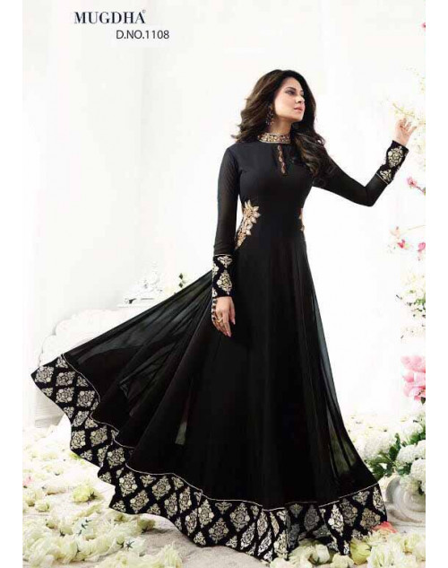 Jennifer Winget Black Georgette Designer Anarkali Salwar Suit