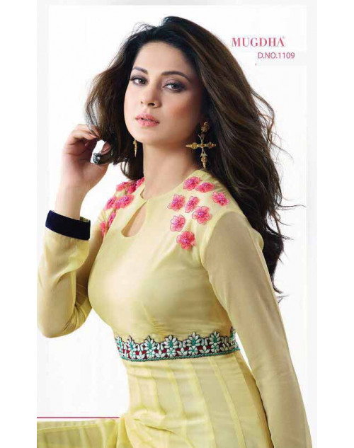 Jennifer Winget Yellow Apple Georgette Designer Anarkali Salwar Suit