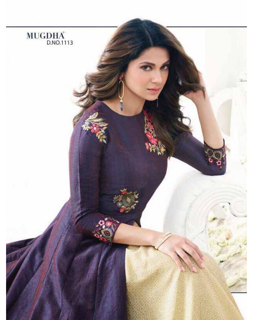 Jennifer Winget Purple And Cream Banarsi Two Tone Silk Designer Anarkali Salwar Suit