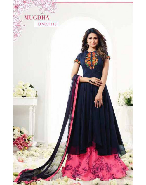 Jennifer Winget Navy And Pink Georgette Designer Anarkali Salwar Suit