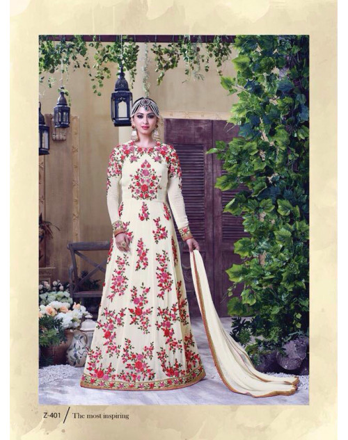 Latest Designer Georgette with Embroidery White Floor Length Salwar Suit