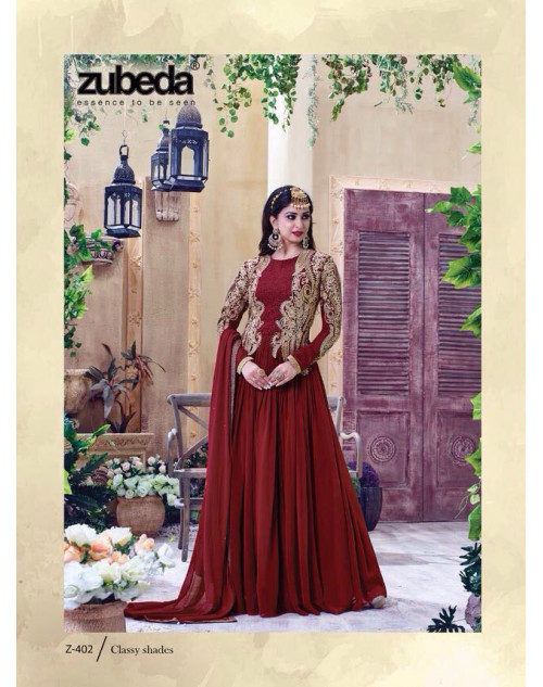 Latest Designer Georgette with Embroidery Maroon Floor Length Salwar Suit