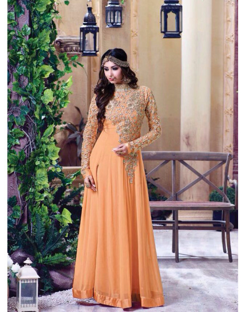 Latest Designer Georgette with Embroidery SandyBrown Floor Length Salwar Suit