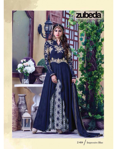 Latest Designer Georgette with Embroidery Navy Floor Length Salwar Suit