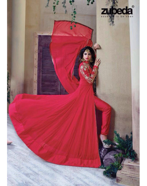 Latest Designer Georgette with Embroidery Red Floor Length Salwar Suit