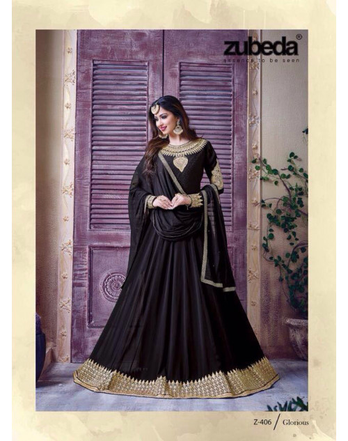 Latest Designer Georgette with Embroidery Black Floor Length Salwar Suit