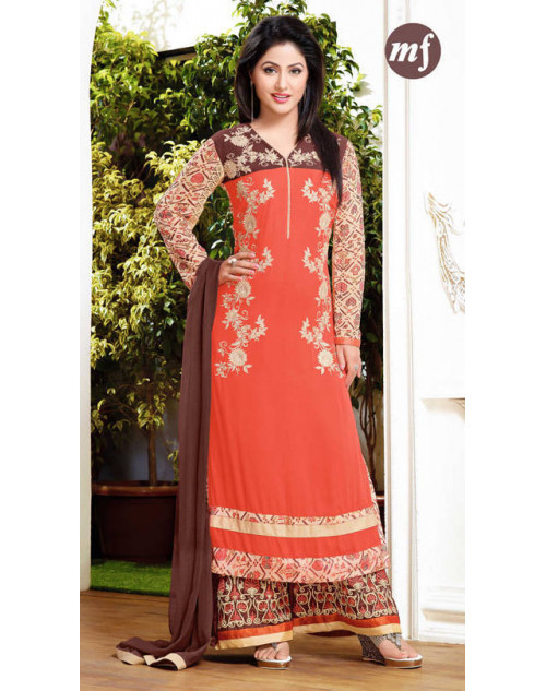 Hina Khan Orange Mf Designer Georgette Salwar Kameez