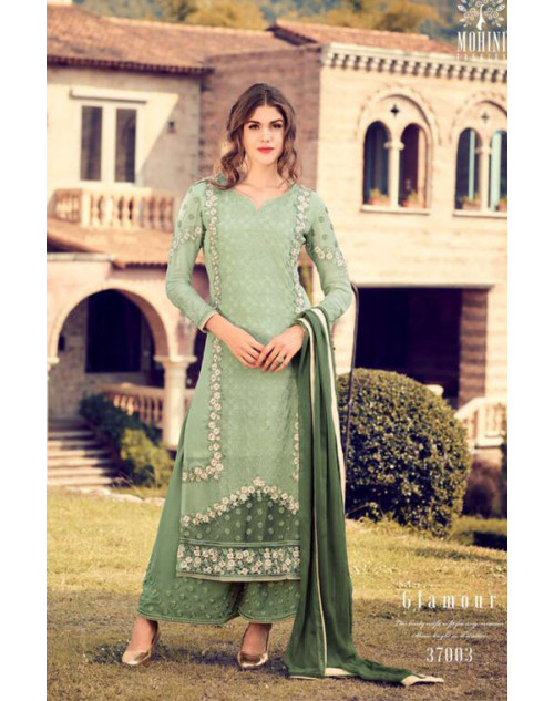 Designer LightGreen Georegette Fancy Salwar Kameez