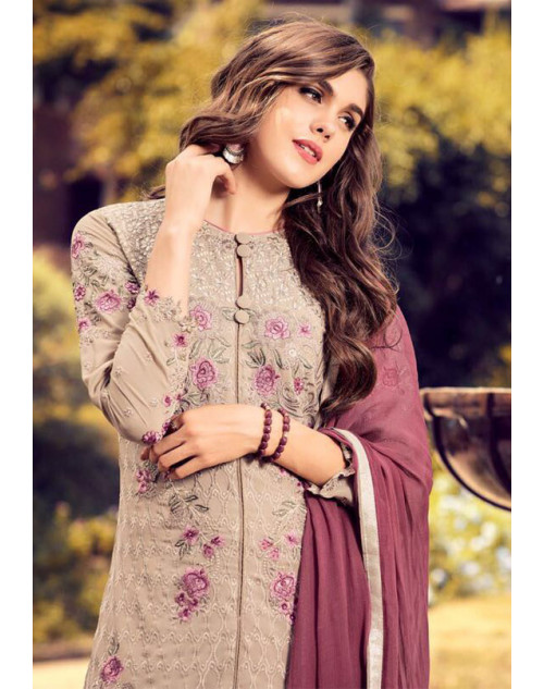 Designer Grey Georegette Fancy Salwar Kameez