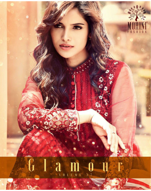 Designer Red Georegette Fancy Salwar Kameez